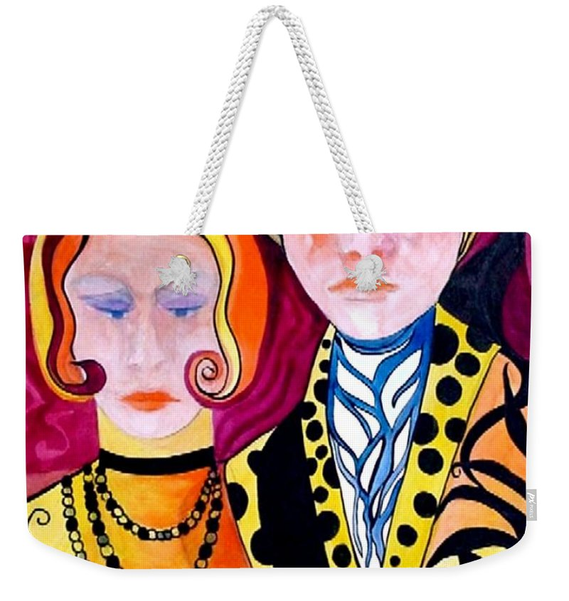 People Weekender Tote Bag featuring the painting Alone And Together by Carolyn LeGrand