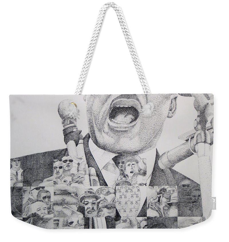 Martin Luther King Weekender Tote Bag featuring the drawing Martin Luther King-i Have A Dream by Joshua Morton