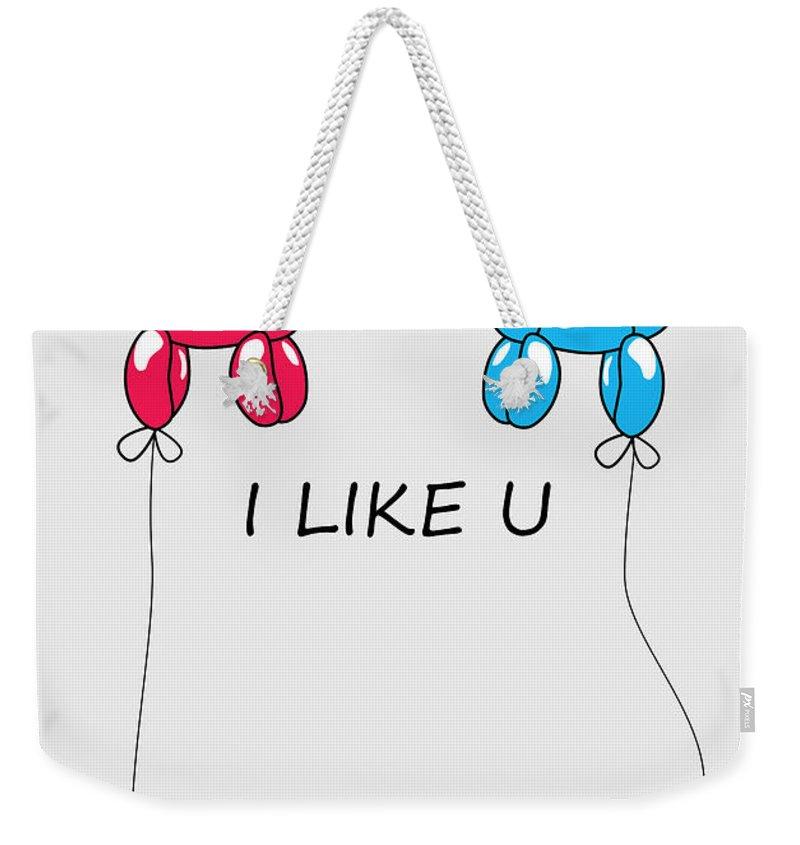 Love Weekender Tote Bag featuring the digital art I Like You 2 by Mark Ashkenazi