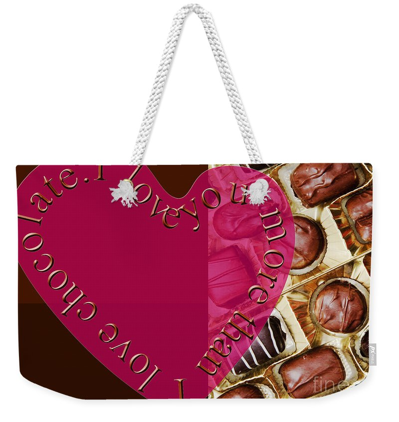 Panorama Weekender Tote Bag featuring the mixed media I Love You More Than I Love Chocolate 5 by Andee Design