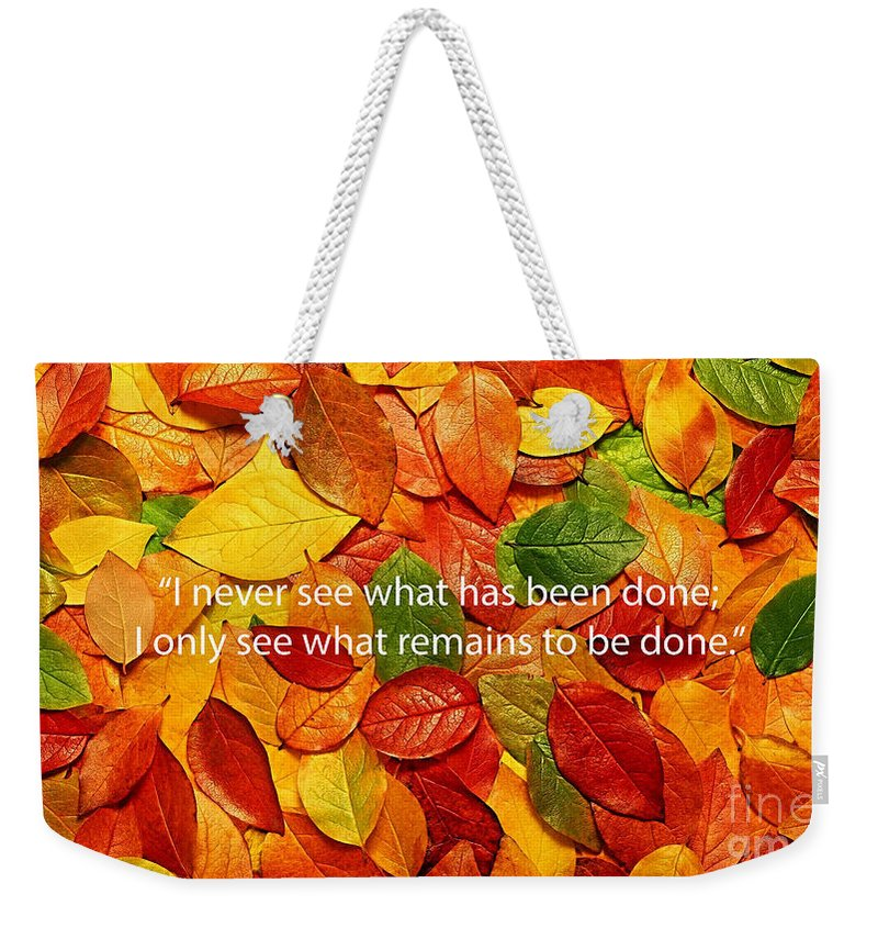Inspiration Weekender Tote Bag featuring the mixed media I Only See by Marvin Blaine