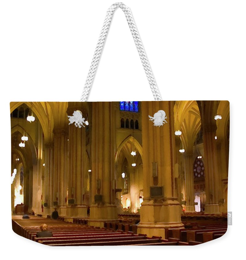 Church Weekender Tote Bag featuring the photograph I Pray by Karol Livote