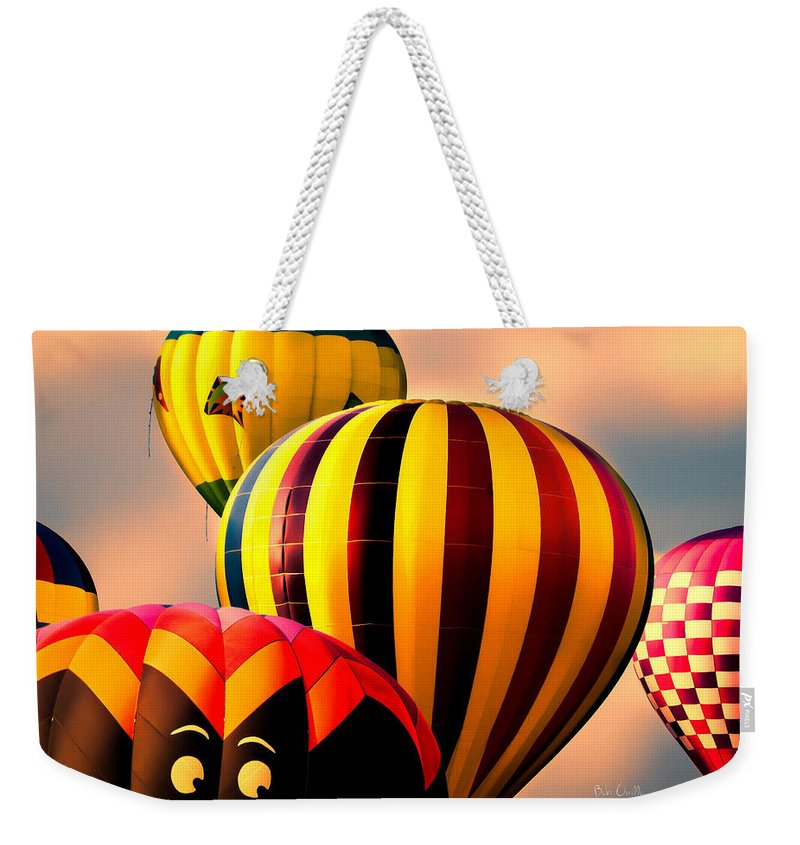 Hot Air Balloon Weekender Tote Bag featuring the photograph I See You by Bob Orsillo