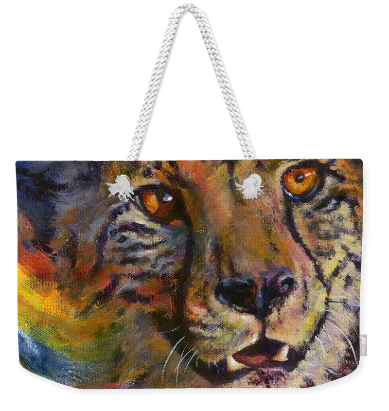 Cheetah Weekender Tote Bag featuring the painting I Spy by Don Michael Jr