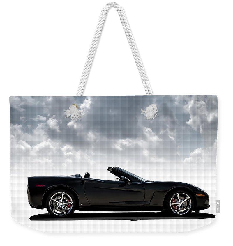 Corvette Weekender Tote Bag featuring the digital art I Take Mine Black by Douglas Pittman