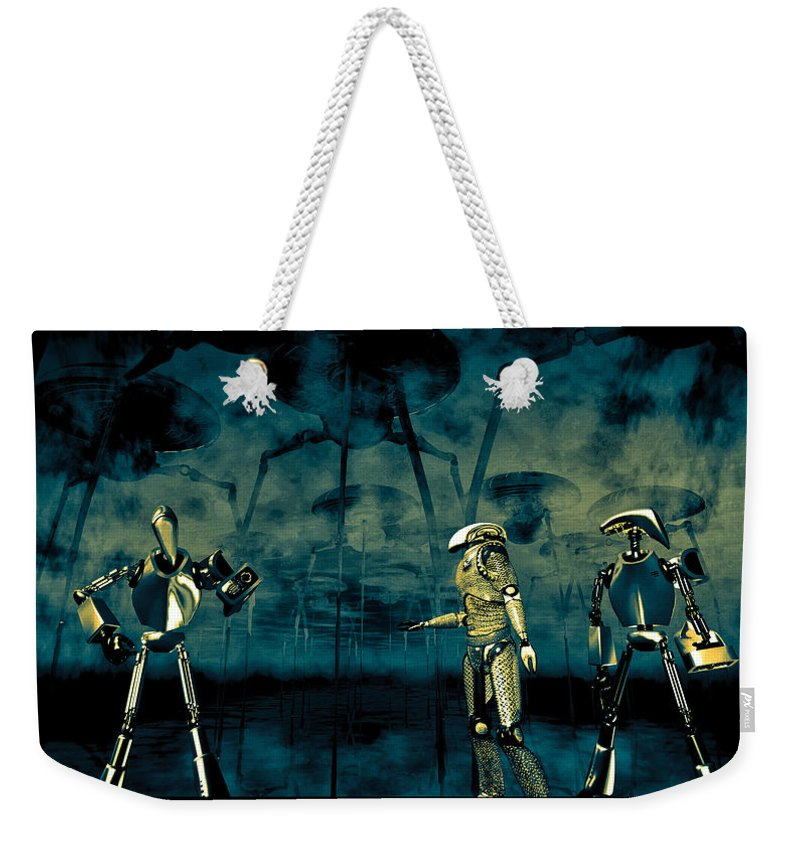 Android Weekender Tote Bag featuring the digital art I Think I Hear Something by Bob Orsillo