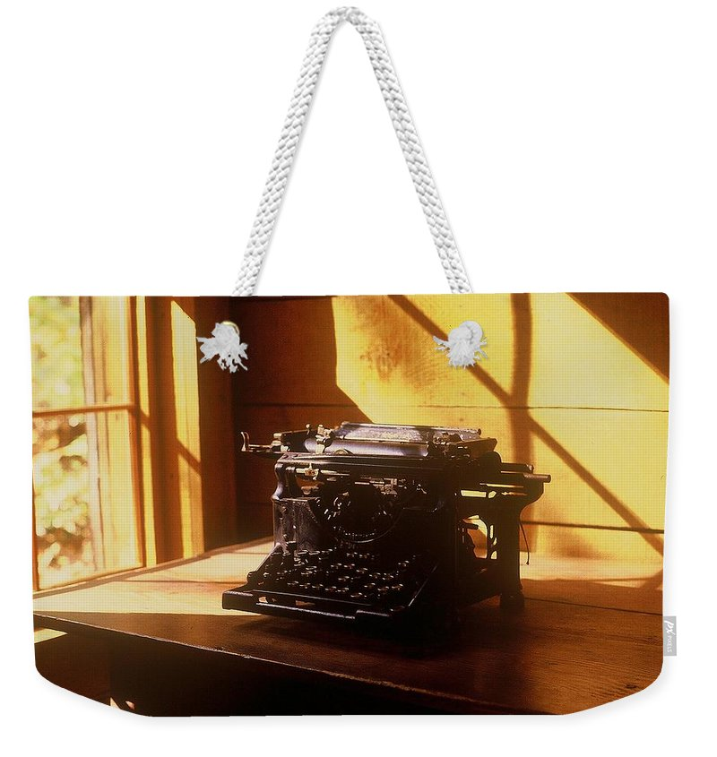 Typewriter Weekender Tote Bag featuring the photograph I Write No More by Rodney Lee Williams