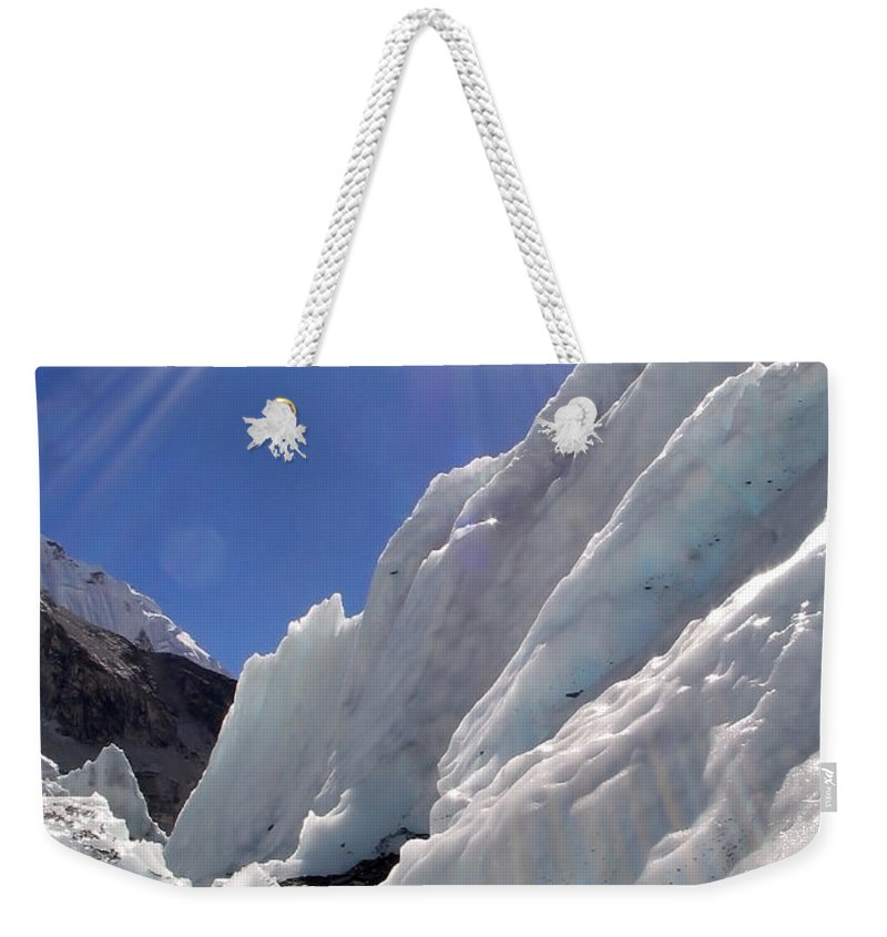Achieve Weekender Tote Bag featuring the photograph Ice And Sun by Tim Hester