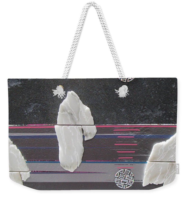 Assemblage Weekender Tote Bag featuring the mixed media Ice Bergs by Elaine Booth-Kallweit
