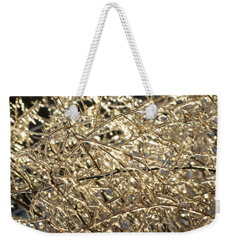 Burst Weekender Tote Bag featuring the photograph Ice Burst by Shannon Workman