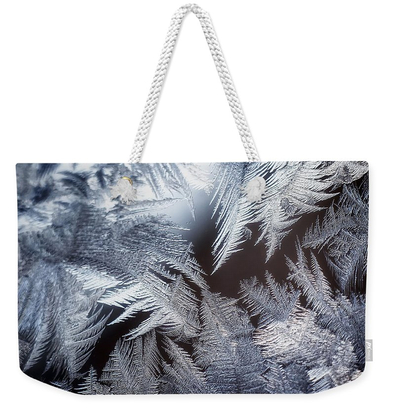 Ice Weekender Tote Bag featuring the photograph Ice Crystals by Scott Norris
