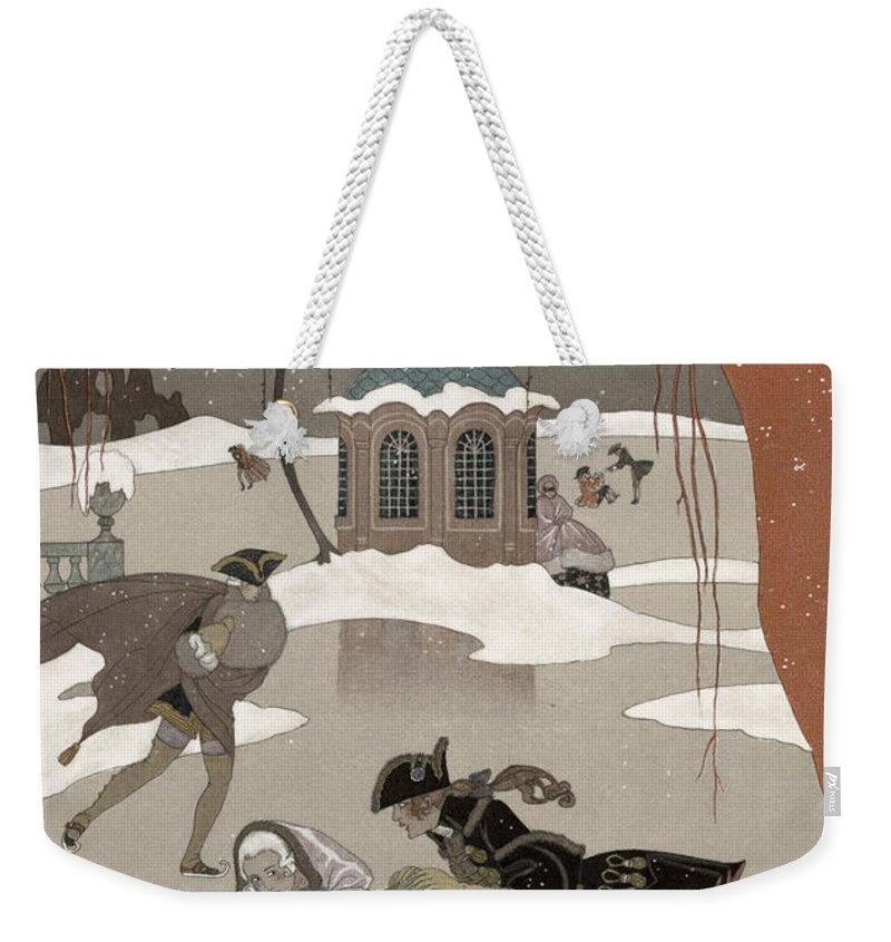 Frozen Pond Weekender Tote Bags