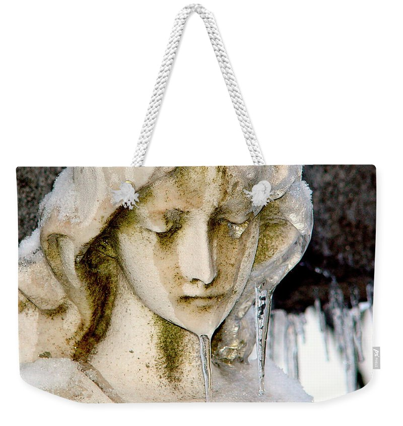Winter Weekender Tote Bag featuring the photograph Ice Tear Drop by Gothicrow Images