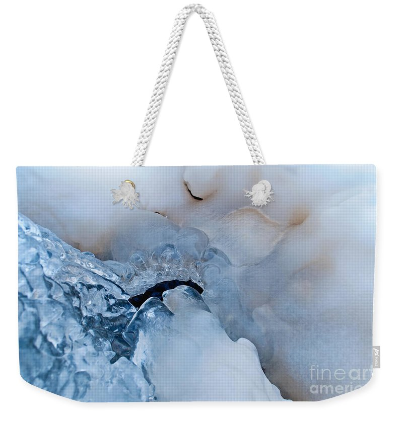 Ice Weekender Tote Bag featuring the photograph Ice Transformation V by Gwyn Newcombe