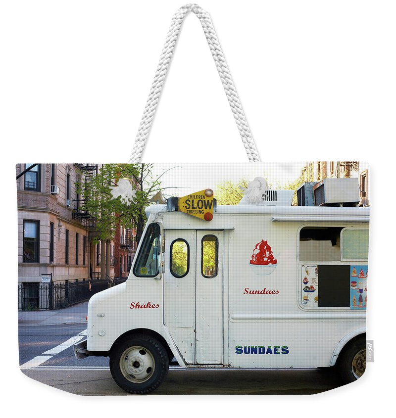 Retail Weekender Tote Bag featuring the photograph Icecream Truck On City Street by Jason Todd