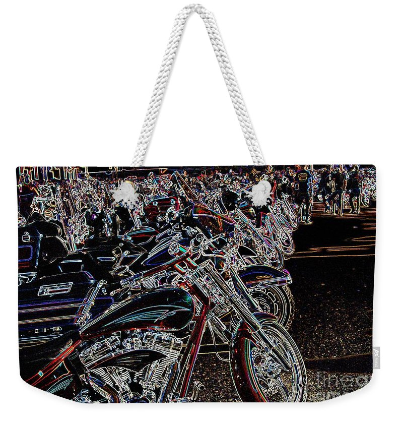 Motorcycle Weekender Tote Bag featuring the photograph Iced Out Bikes by Anthony Wilkening