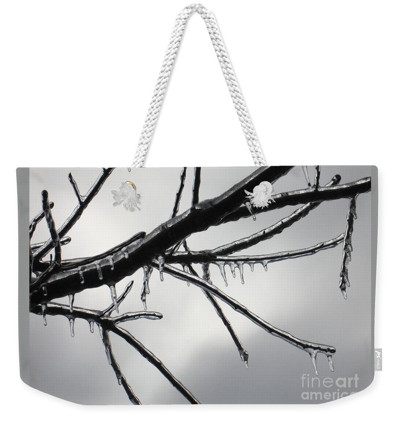 Winter Weekender Tote Bag featuring the photograph Iced Tree by Ann Horn