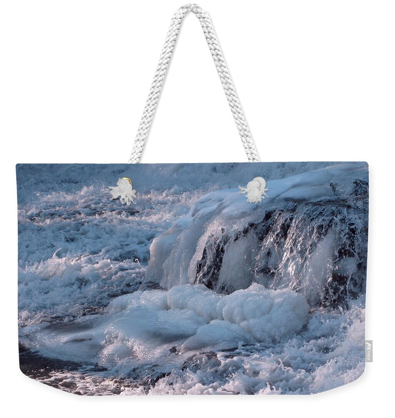 Winter Weekender Tote Bag featuring the photograph Iced Water by Ann Horn