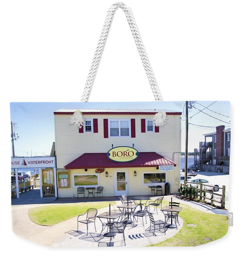Southwold Weekender Tote Bag featuring the painting Icehouse Waterfront Restaurant 3 by Jeelan Clark