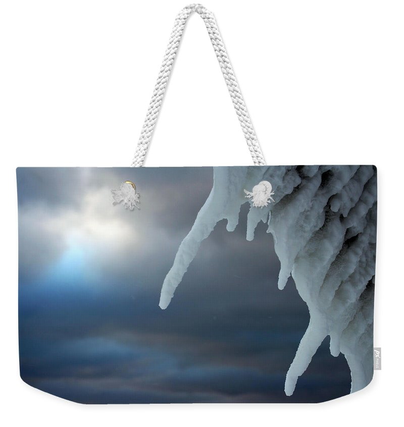 Manistee Weekender Tote Bag featuring the photograph Icicle 2 by Allan Lovell