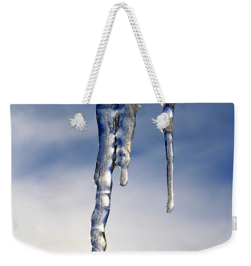 Icicle Weekender Tote Bag featuring the photograph Icicle Formation by Neal Eslinger