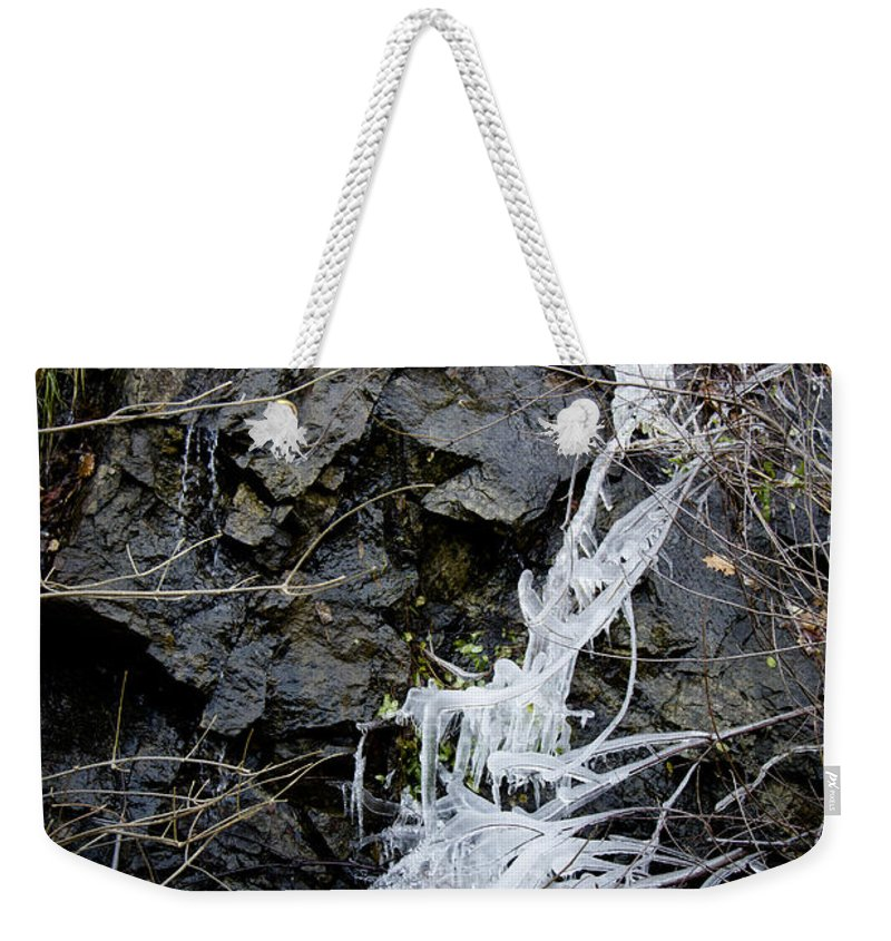 Eagle Rock Weekender Tote Bag featuring the photograph Icicles 2 by Teresa Mucha