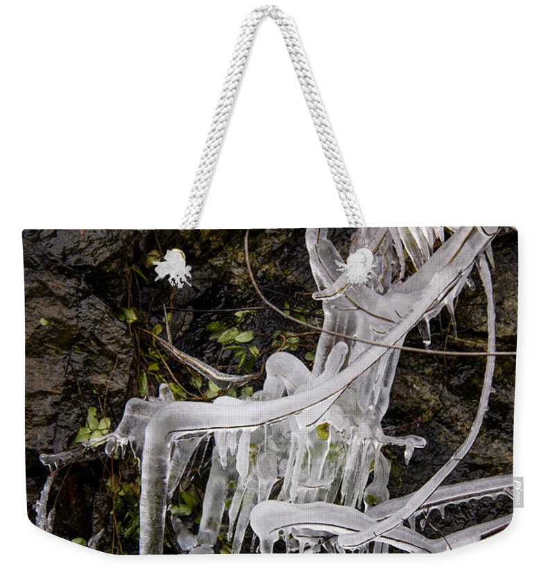 Eagle Rock Weekender Tote Bag featuring the photograph Icicles by Teresa Mucha