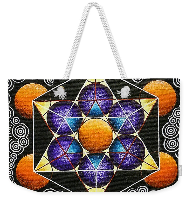 Metatron Cube Paintings Weekender Tote Bag featuring the painting Icosahedron In A Metatron's Cube by Maya B
