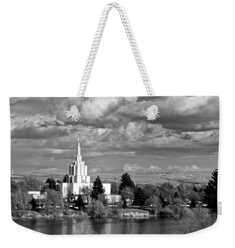 Temple Weekender Tote Bag featuring the photograph Idaho Falls Temple by Eric Tressler