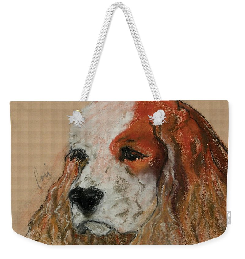 Dog Weekender Tote Bag featuring the pastel Idle Thoughts by Cori Solomon