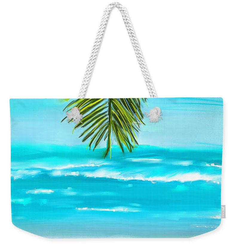 Seascapes Abstract Weekender Tote Bag featuring the painting Idyllic Place by Lourry Legarde