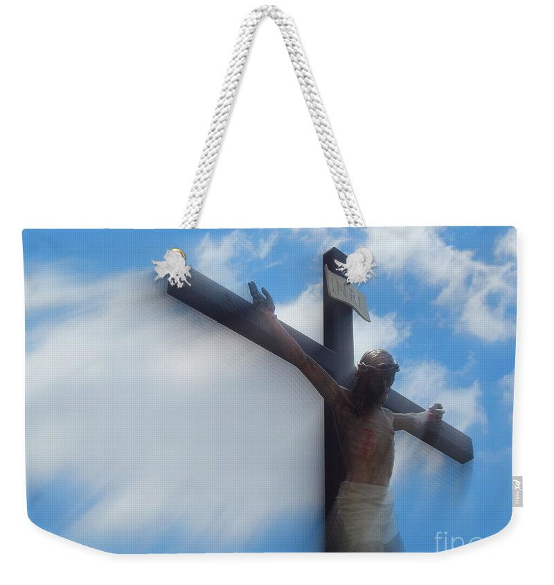 Nola Weekender Tote Bag featuring the photograph Iesus Nazarenvs Rex Ivdaeorvm Accession At St. Joseph Church Garden In New Orleans Louisiana by Michael Hoard