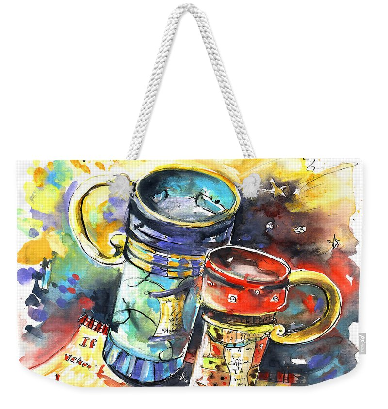 Cafe Crem Weekender Tote Bag featuring the painting If It Were Not For Caffeine by Miki De Goodaboom