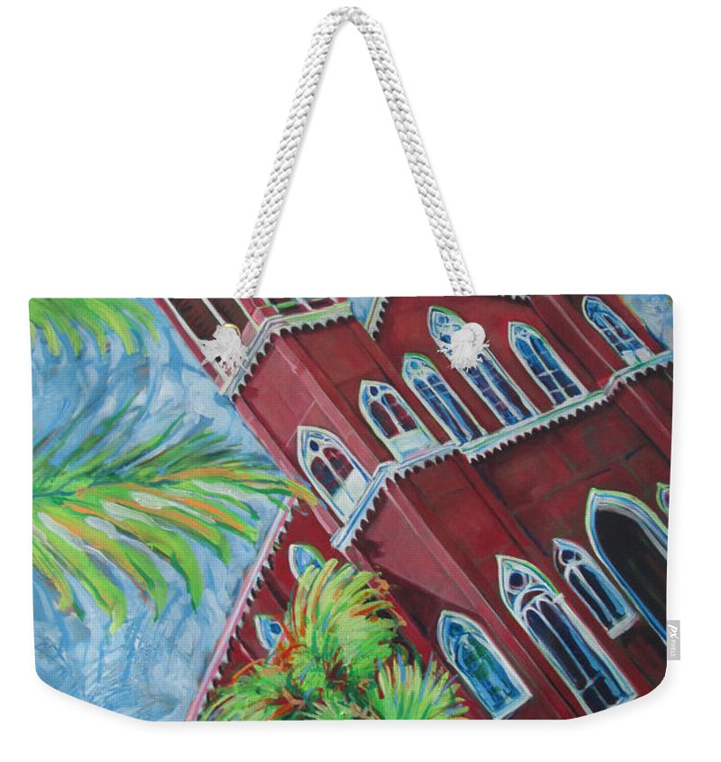 Church Weekender Tote Bag featuring the painting Iglesia Grecia Costa Rica by Jeff Seaberg