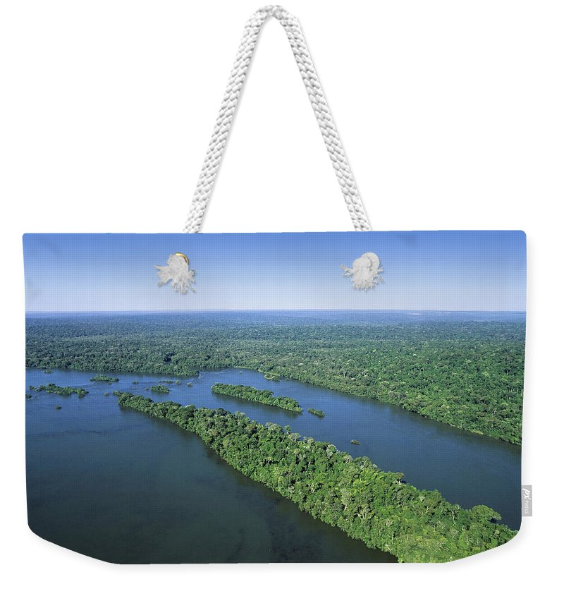 Feb0514 Weekender Tote Bag featuring the photograph Iguacu River Above Iguacu Falls Brazil by Konrad Wothe