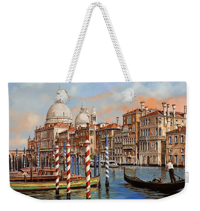Venice Weekender Tote Bag featuring the painting Il Canal Grande by Guido Borelli