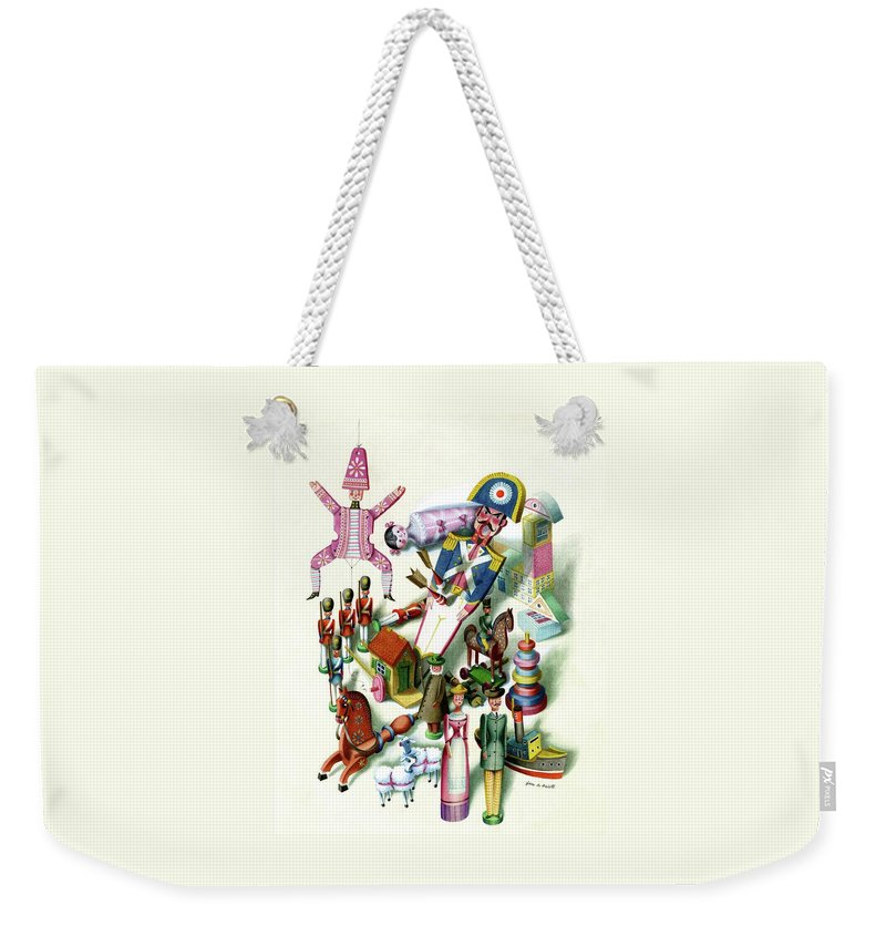 Children Weekender Tote Bag featuring the digital art Illustration Of A Group Of Children's Toys by Jan B. Balet