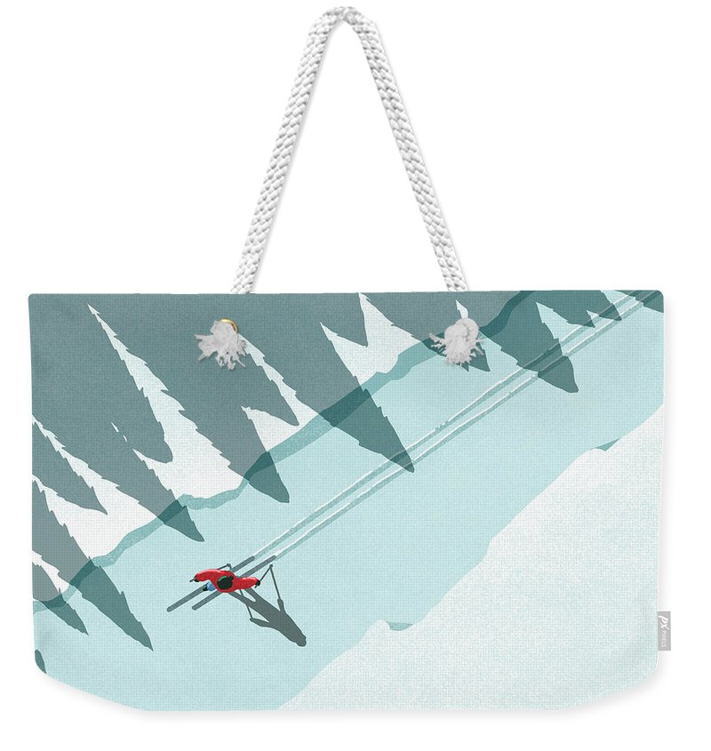 Ski Pole Weekender Tote Bag featuring the digital art Illustration Of Man Skiing During by Malte Mueller