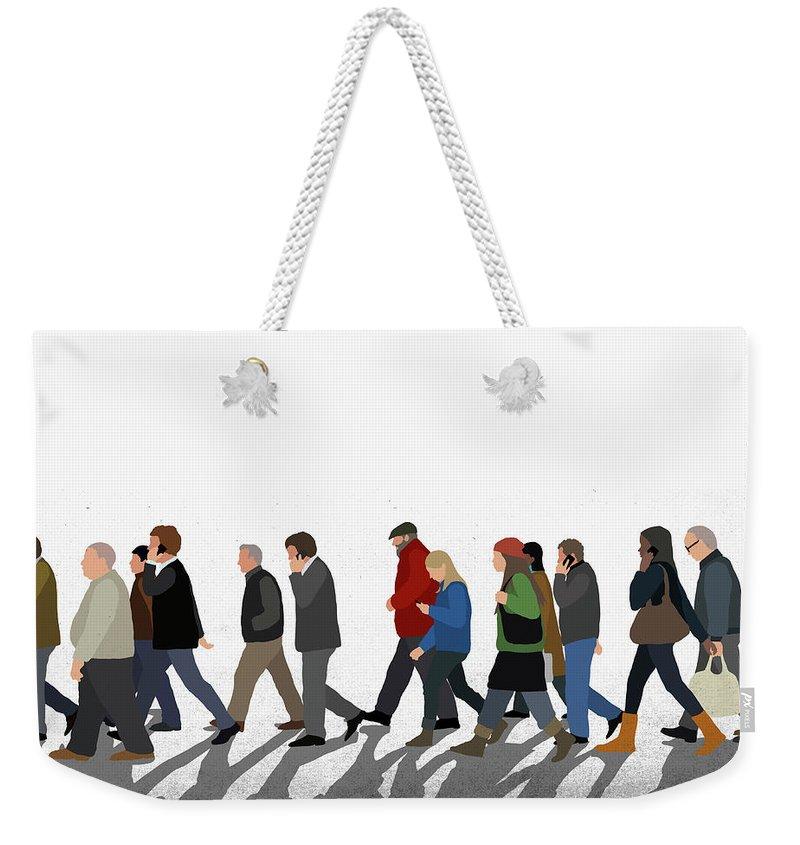 Shadow Weekender Tote Bag featuring the digital art Illustration Of People Walking On by Malte Mueller