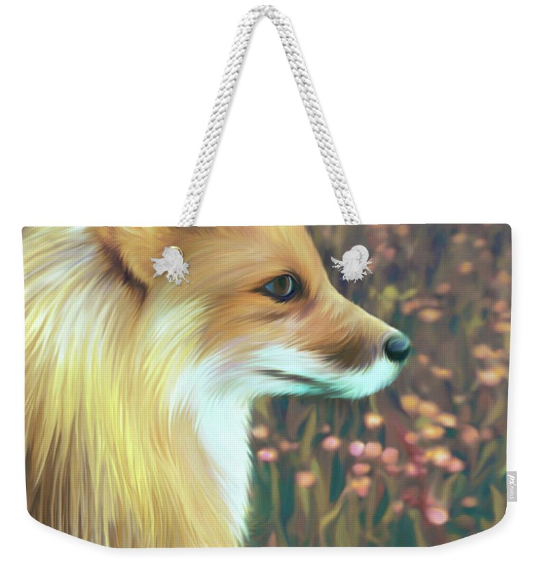 Grass Weekender Tote Bag featuring the digital art Illustration Of Red Fox by Illustration By Shannon Posedenti