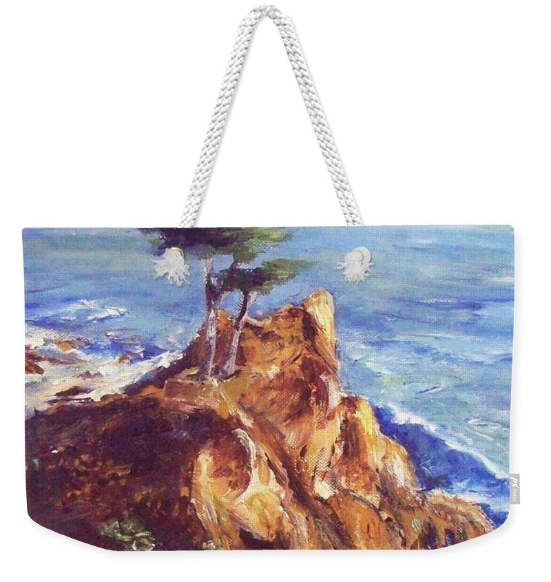 Seascape Weekender Tote Bag featuring the painting Imaginary Cypress by Eric Schiabor