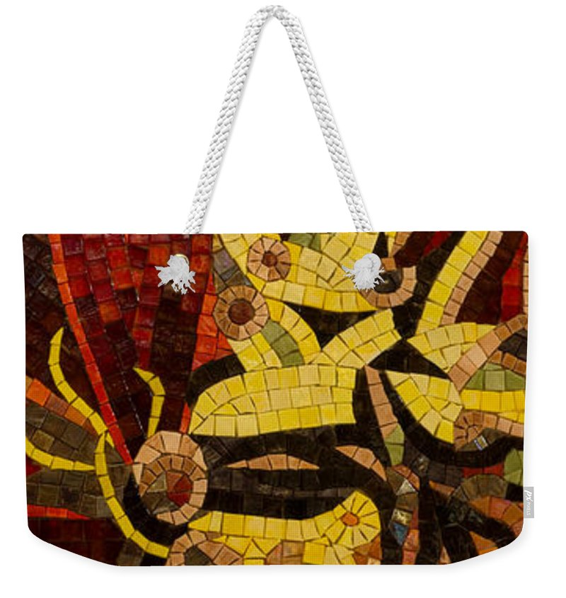 Mosaic Weekender Tote Bag featuring the photograph Imagination In Reds And Yellows by Georgia Mizuleva