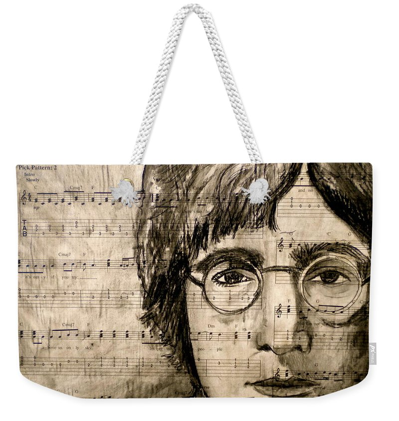 Imagine Weekender Tote Bag featuring the drawing Imagine by Debi Starr