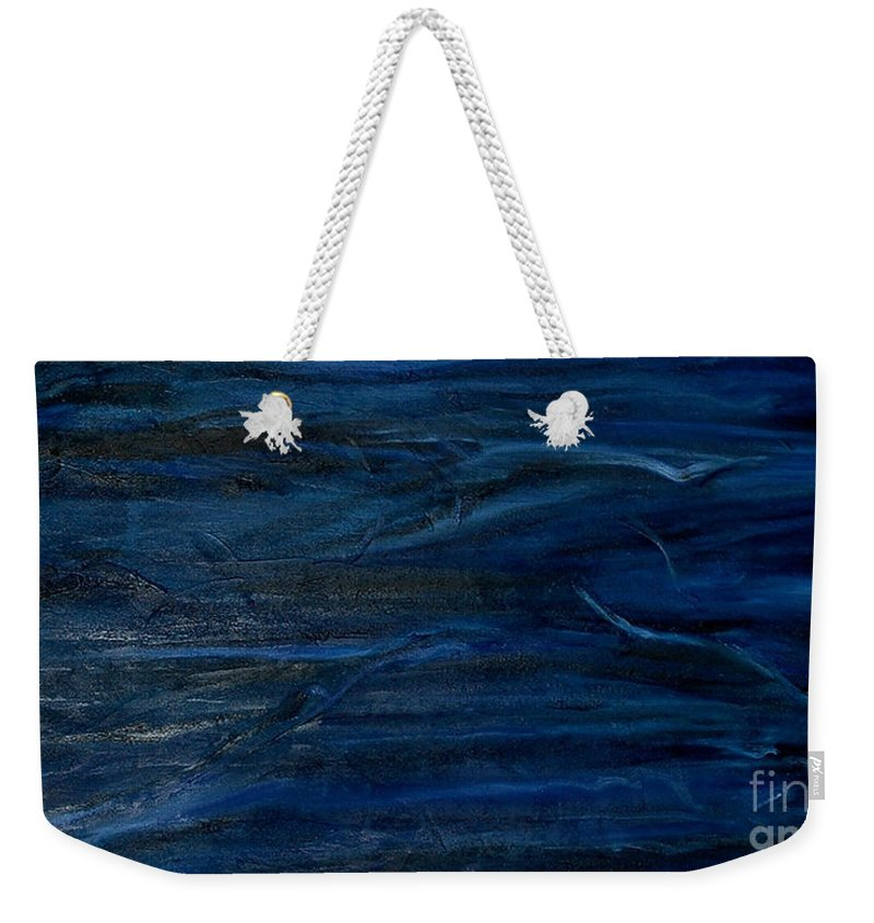 Abstract Weekender Tote Bag featuring the painting Immense Blue by Silvana Abel