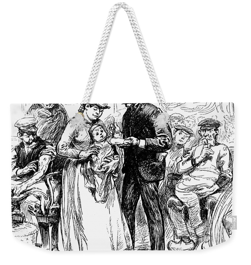1883 Weekender Tote Bag featuring the photograph Immigrant Inspection, 1883 by Granger