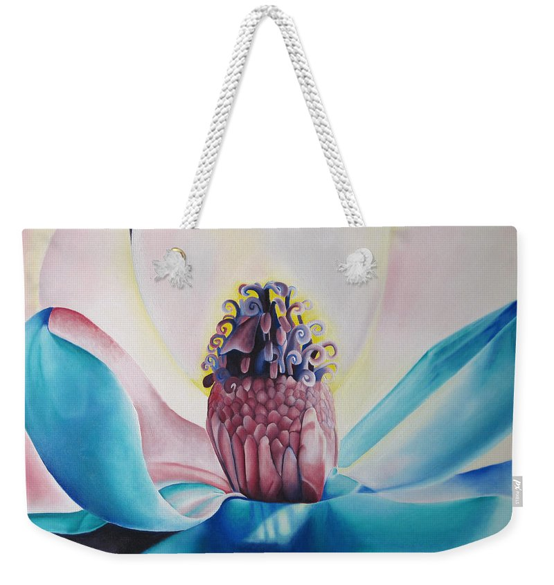 Flower Weekender Tote Bag featuring the painting Imogen Flower by Joshua Morton