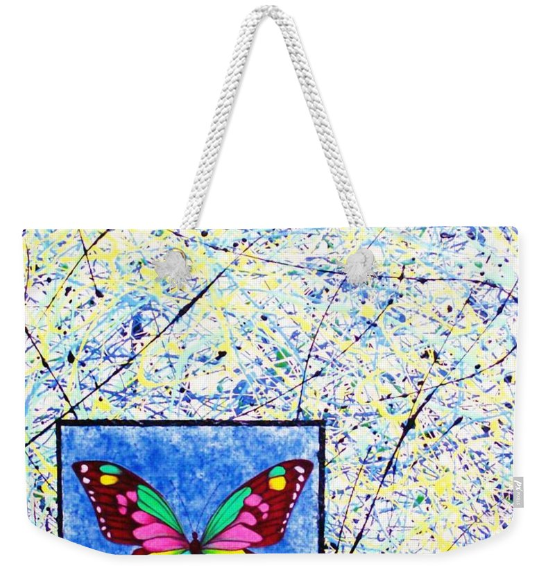 Abstract Weekender Tote Bag featuring the painting Imperfect I by Micah Guenther