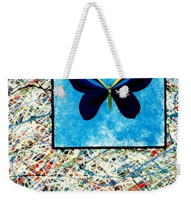 Abstract Weekender Tote Bag featuring the painting Imperfect II by Micah Guenther