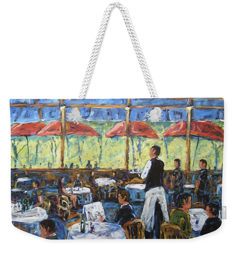 Impresionist Cafe By Prankearts Weekender Tote Bag featuring the painting Impresionnist Cafe By Prankearts by Richard T Pranke