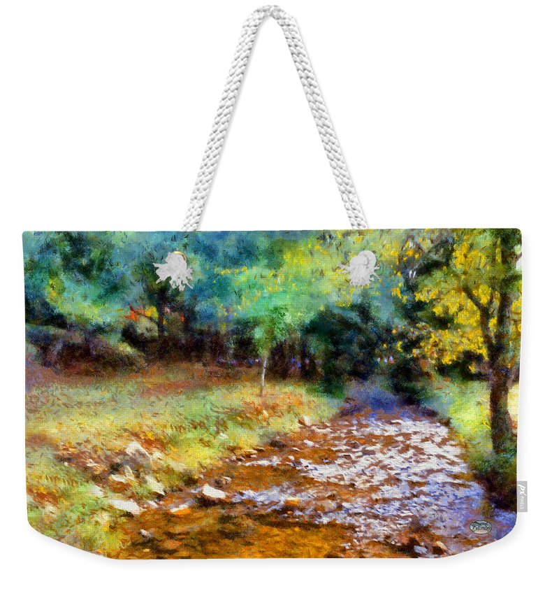 Impressionist Creek Weekender Tote Bag featuring the digital art Impressionist Rocky Creek by Daniel Eskridge